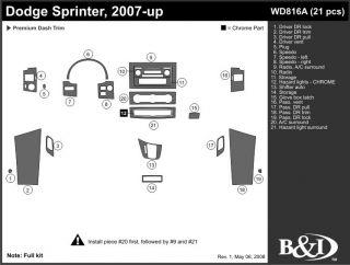 2007, 2008, 2009 Dodge Sprinter Wood Dash Kits   B&I WD816A DCF   B&I Dash Kits