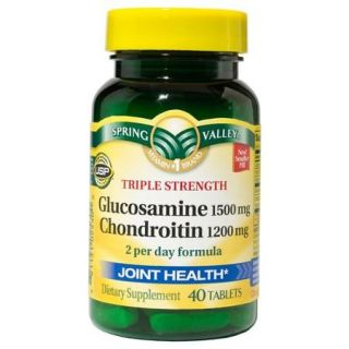 Spring Valley Triple Strength Glucosamine/Chondroitin Joint Health Dietary Supplement, 40ct
