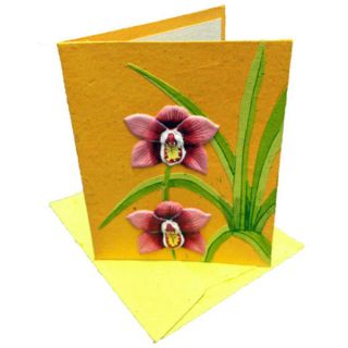 Mr. Ellie Pooh Handmade Designer Orange Poo Paper Card (Sri Lanka
