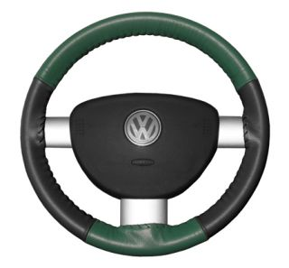 2004 2009 Toyota Prius Leather Steering Wheel Covers   Wheelskins Green/Charcoal 13 3/4 X 3 3/4   Wheelskins EuroTone Leather Steering Wheel Covers