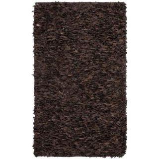 Safavieh Leather Shag Dark Brown 5 ft. x 8 ft. Area Rug LSG421D 5