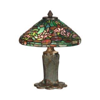 Dale Tiffany 12 in. Antique Bronze Verde Floral Leaf Art Glass Table Lamp TT10334