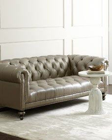 Old Hickory Tannery Morgan Gray Tufted Leather Sofa