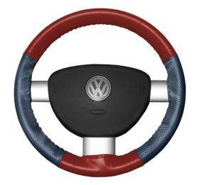 2015 Toyota Sienna Leather Steering Wheel Covers   Wheelskins Red/Sea Blue Perf 15 1/4 X 4 1/2   Wheelskins EuroPerf Perforated Leather Steering Wheel Covers