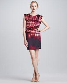 Ali Ro Brushstroke Silk Shift Dress