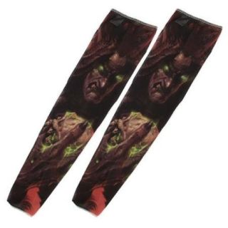 1 Pair Summer Stretchy Unisex Ghost Printed UV Sun Protection Tattoo Arm Sleeves