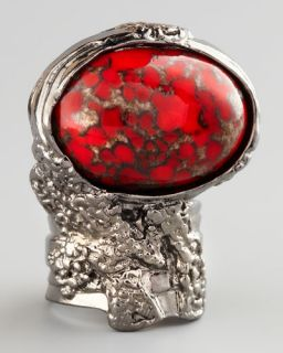 Yves Saint Laurent Red Glass Arty Ring, Silvertone
