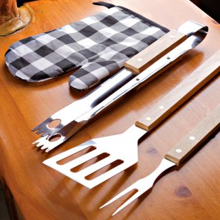 Piece Barbecue Set with Stainless Steel Fork, Spatula, Tongs and