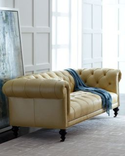 Old Hickory Tannery Morgan Sunshine Tufted Leather Sofa