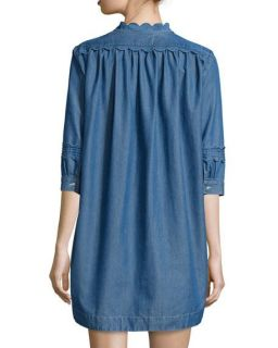 MiH Angie Chambray Dress W/Scalloped Detail, Blue
