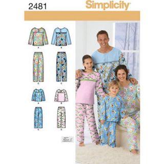 Simplicity Pattern Unisex Sleepwear, (XS L, XS XL)