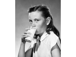 Girl drinking milk Poster Print (18 x 24)