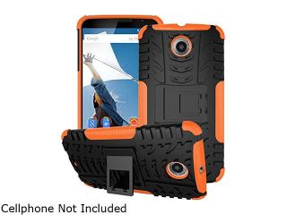 rooCASE Orange Heavy Duty Armor Hybrid Rugged Stand Case for Google Nexus 6 RCNX6HYBD8OR