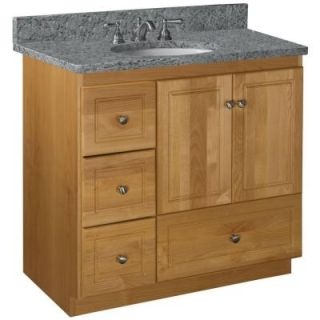 Simplicity by Strasser Ultraline 36 in. W x 21 in. D x 34.5 in. H Vanity Cabinet Only with Left Drawers in Natural Alder 01.301.2