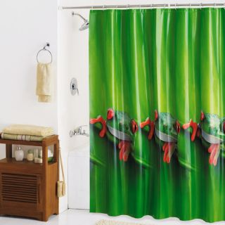Frogs Photoreal Shower Curtain, Green