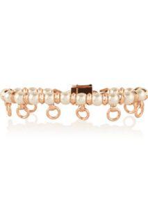Pierced rose gold plated faux pearl bracelet