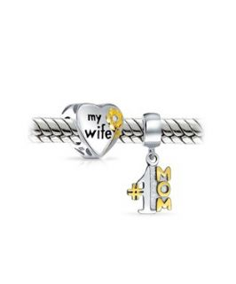 Bling Jewelry Bling Jewelry Two Tone Number 1 Mom Dangle Charm My Wife Heart Set Fits Pandora (360268601)