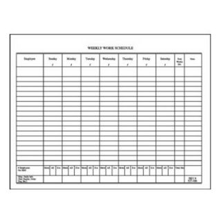 Centurion Inc 327486/9801606 50 Count Weekly Work Schedule Pad