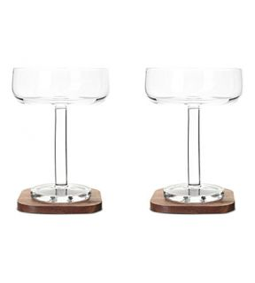 LSA   Set of two city bar champagne saucers and coasters
