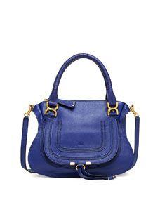 Chloe Marcie Medium Satchel Bag, Blue