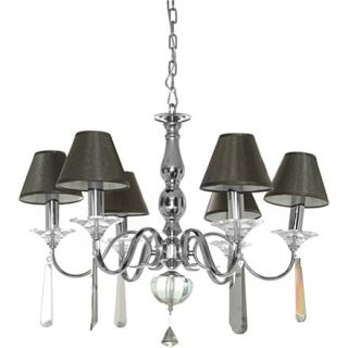 LIGHT SHOP   Smoke six light chandelier with shades