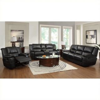 Coaster Lee Transitional 3 Piece Leather Reclining Sofa Set in Black   601061 62 63 3PKG