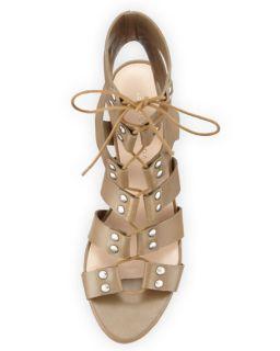 Loeffler Randall Hana Leather Lace Up City Sandal, Olive