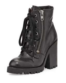 Ash Poker Leather Moto Boot, Black