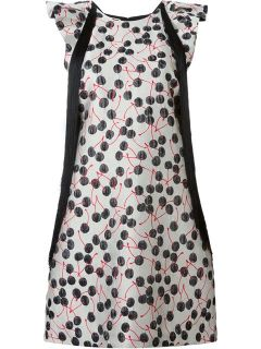 Giamba Fringed Cherry Jacquard Dress   Aquerreta