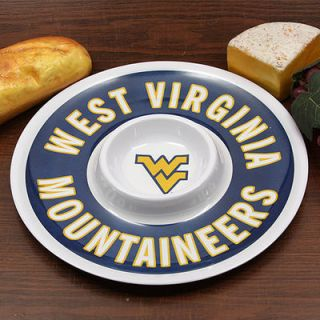 West Virginia Mountaineers 12 Melamine Chip & Dip Tray   White