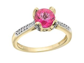 14K Yellow Gold Natural Pink Topaz Ring Round Shape 7mm Diamond Accent, sizes 5 to 10 with half sizes