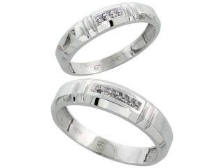 14k White Gold 2 Piece His (5.5mm) & Hers (4mm) Diamond Wedding Band Set, w/ 0.05 Carat Brilliant Cut Diamonds&#59; (Ladies Size 5 to10&#59; Men's Size 8 to 14)