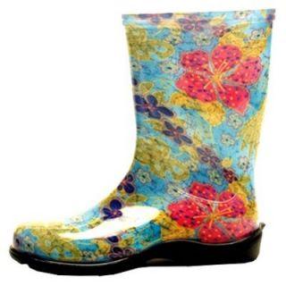 Sloggers Womens Rubber Boot, Tall Midsummer Blue Print, Size 6: Model# 5002BL06