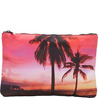 Ashley M Sunset By The Beach Scene Folding Zippered Clutch