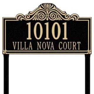 Whitehall Products Villa Nova Rectangular Black/Gold Estate Lawn Two Line Address Plaque 1112BG