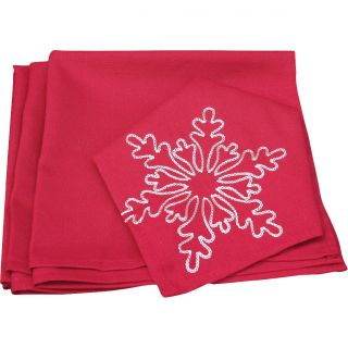 Xia Home Fashions Snowy Noel Embroidered Snowflake Christmas Napkin