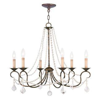 Livex Lighting Pennington 28 in 6 Light Venetian Golden Bronze Vintage Candle Chandelier
