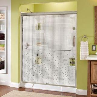 Delta Simplicity 60 in. x 70 in. Semi Frameless Sliding Shower Door in Nickel with Mozaic Glass 1118156