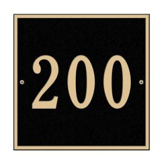 Whitehall Products Square Standard Wall 1 Line Address Plaque   Black/Gold 2110BG