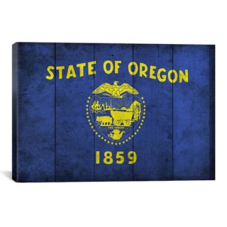 Oregon Flag, Wood Planks with Grunge Graphic Art on Canvas