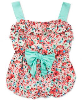 Rare Editions Baby Girls Coral Floral Print Romper   Dresses   Kids