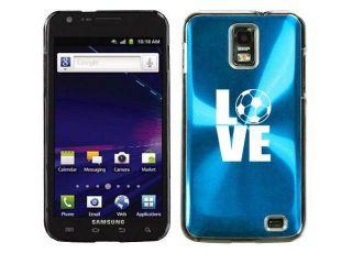 Light Blue Samsung Galaxy S II Skyrocket i727 Aluminum Plated Hard Back Case Cover I354 Love Soccer