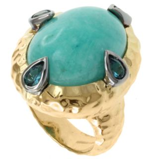 Michael Valitutti Two tone ite and London Blue Topaz Ring