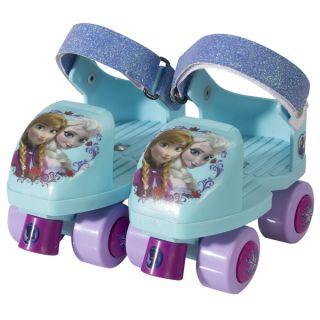 Disney Frozen Kids Glitter Rollerskate Junior Size 6 12 with Knee Pads