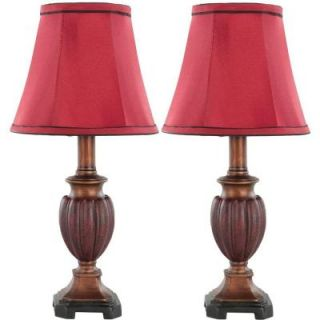 Safavieh Hermione 16 in. Brown/Red Urn Lamp with Red Shade (Set of 2) LIT4029A SET2