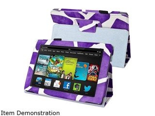 Insten 1901485 Folio Stand Leather Case for  Kindle Fire HD 7 inch 2013 edition, Purple Giraffe