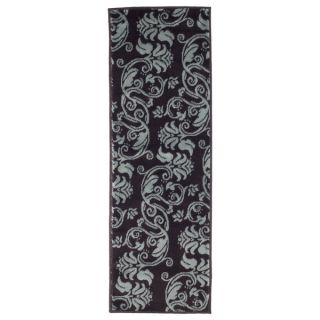 Windsor Home Floral Scroll Area Rug   Brown & Blue   18x5