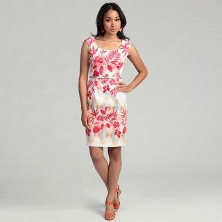 London Times Womens Floral Printed Sheath Dress