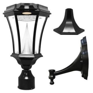Gama Sonic Victorian Solar Black Outdoor Post/Wall Light with Bright White LEDs and Motion Sensor GS 94PIR FPW