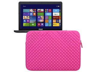Evecase 15~ 15.6 inch Diamond Foam Neoprene Universal Sleeve Zipper Bag for ASUS 15.6 Inch HD Dual Core Laptop(X551MAV EB01 B)   Hot Pink